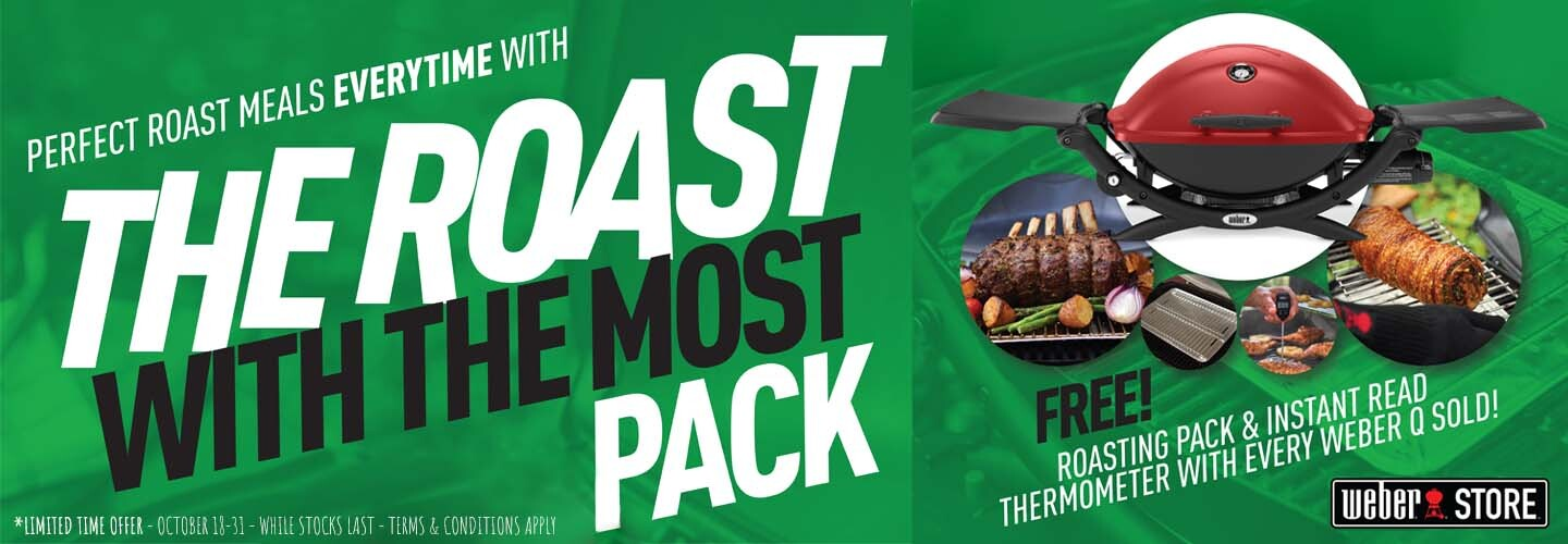 Roast With The Most Promo - Free Roasting Pack and Thermometer with every Weber Q - T&C's apply